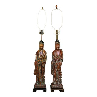 Frederick Cooper Carved Asian Figure Lamps