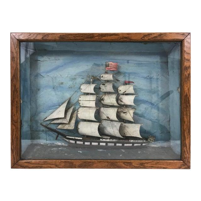American Folk Art Sailing Ship Diorama For Sale