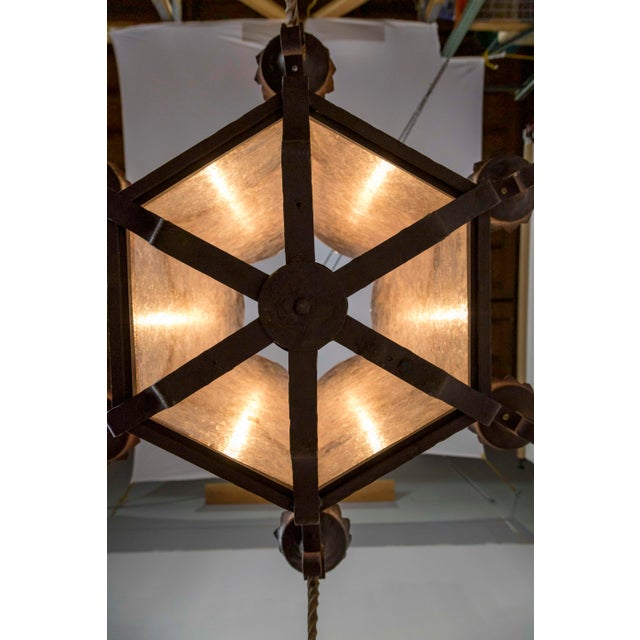 Large Antique Gothic Revival Bronze & Mica Lanterns (2 Available) For Sale - Image 12 of 13