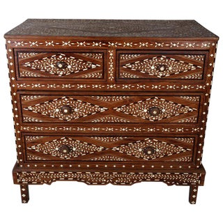 Teak With Bone Inlay Chest of Drawers, 20th Century, India For Sale