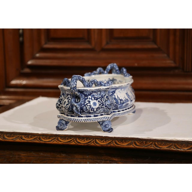 Ceramic Early 20th Century French Oval Hand-Painted Blue & White Jardinière For Sale - Image 7 of 11