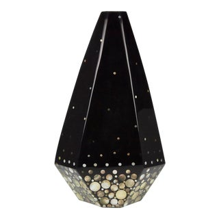 "1990s Contemporary Tall Faceted Black ""Romania"" Vase With Seashell Inlay For Sale"