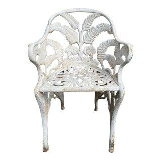 19th Century Antique Cast Iron Fern Garden Chair For Sale