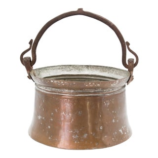 Antique English Copper Cauldron Pot For Sale