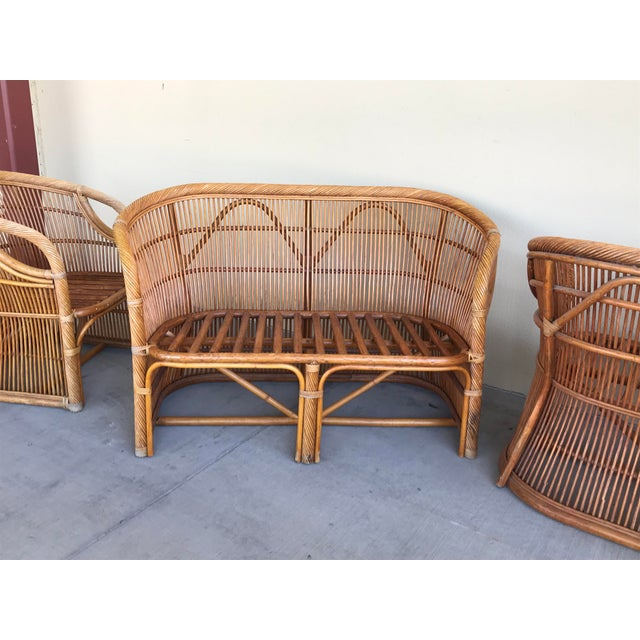 1970s Mid Century Italian Rattan and Bamboo Chairs and Settee- 6 Pieces For Sale - Image 5 of 11