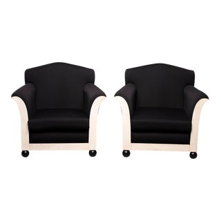 French Art Deco Vellum Edged Club Chairs - a Pair For Sale