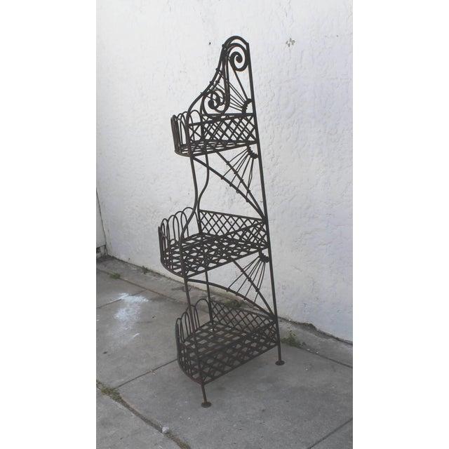 1950s Early 20th Century Spanish Looking Iron Corner Three-Tier Shelf For Sale - Image 5 of 8