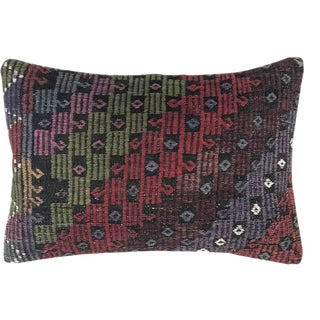 "XL Jewel Tone Kilim Lumbar Pillow | 16"" X 24"" For Sale"
