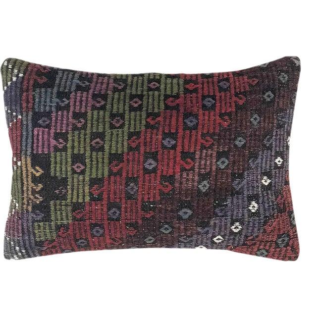 "XL Jewel Tone Kilim Lumbar Pillow   16"" X 24"" For Sale"