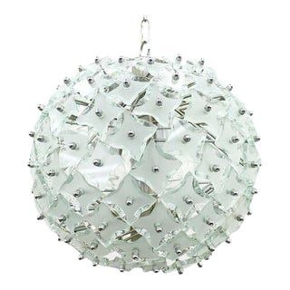 """Glass and Metal """"Snowball"""" Chandelier, Italy, 1960s For Sale"""