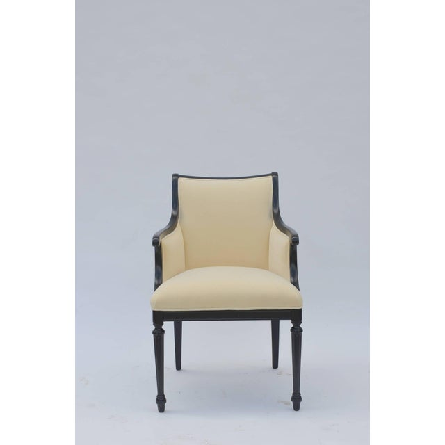 White Pair of Chic Black Lacquer and Cream Velvet Armchairs by William Haines For Sale - Image 8 of 8