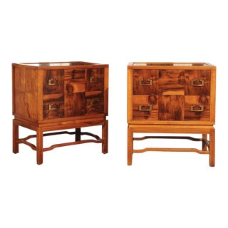 Breathtaking Pair of Parquetry Commodes by Ray See For Sale
