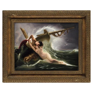 """Exceptional Quality Berlin k.p.m Porcelain Plaque """"Kiss of the Wave"""" For Sale"""