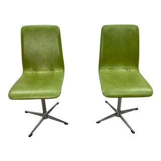 Vintage Mid Century Italian Faux Leather Avocado Green Chrome Chairs- a Pair For Sale