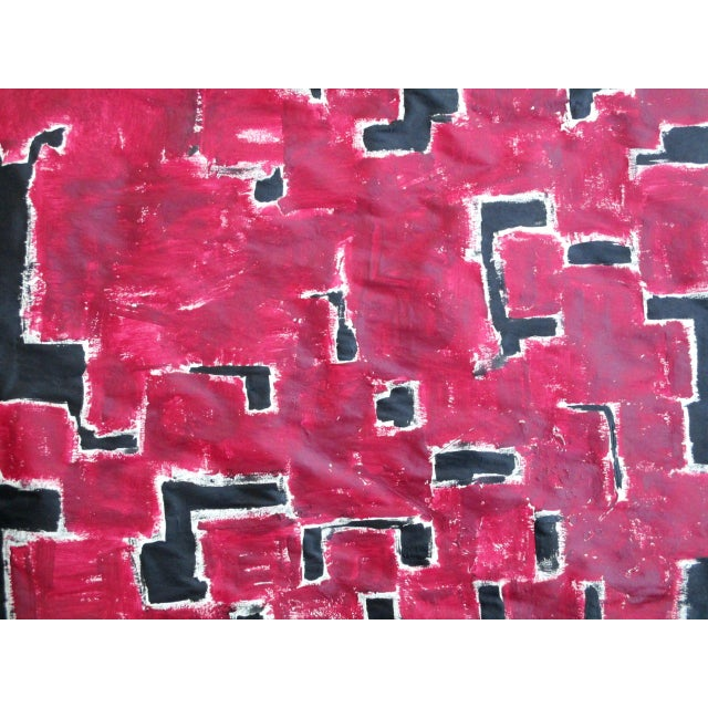 Alaina Bold Abstract Red Black Painting - Image 5 of 11