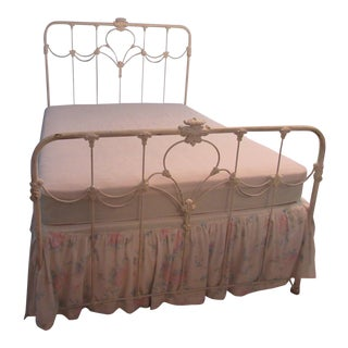Antique American White Solid Cast Iron Double Bed Frame For Sale