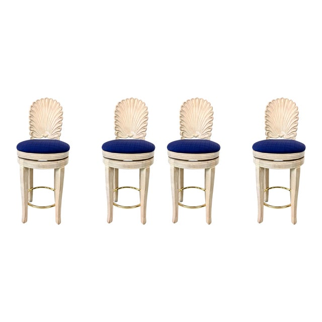 Set of 4 Shell Back Swivel Barstools - Image 1 of 9