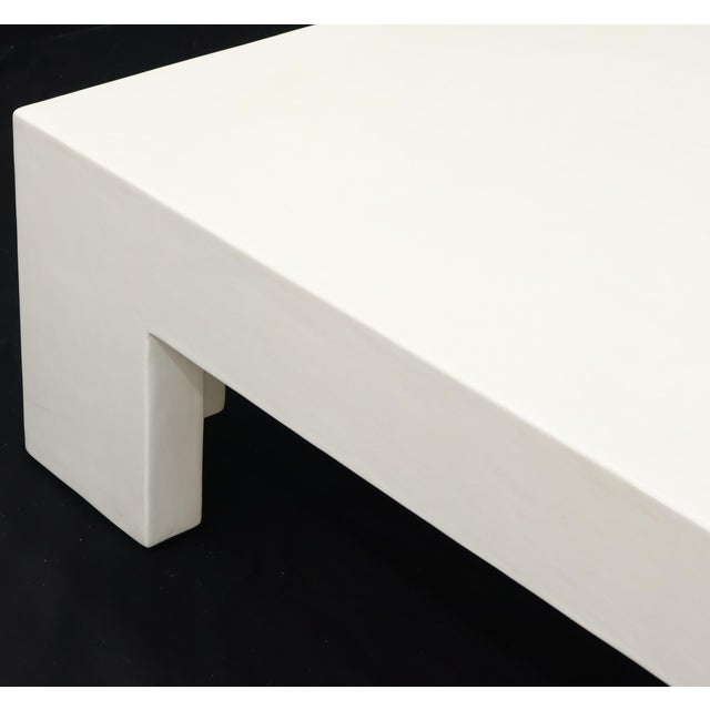 Robert Kuo Large Square White Enamel Lacquer Coffee Table For Sale - Image 12 of 13