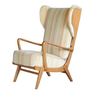 Danish Midcentury Wingback Lounge Chair With Exposed Sides For Sale