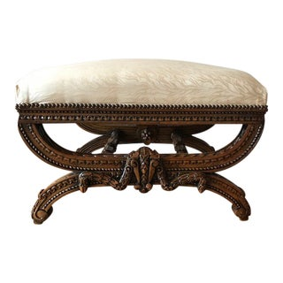 Indonesian Carved Wood Bed Bench