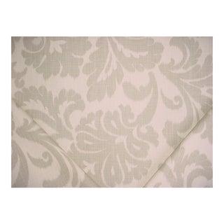 Kravet Lisena Gray Creme Printed Cotton Ikat Damask Upholstery Fabric - 11 1/8 Yards For Sale