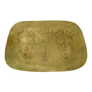 Mid-Century Brass Tray With Modernist Inlaid Faces