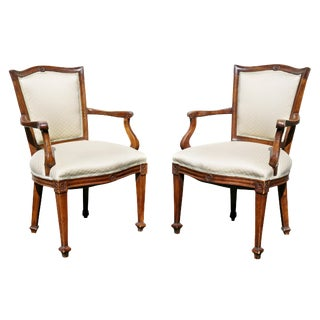 Pair of Italian Neoclassic Walnut Armchairs For Sale