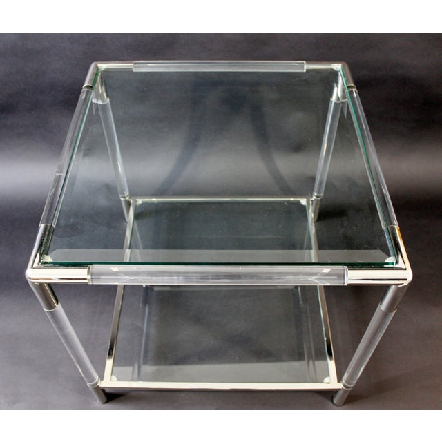 Mid-Century Modern Charles Hollis Jones Era Chrome Lucite Glass Coffee Table For Sale In Detroit - Image 6 of 9