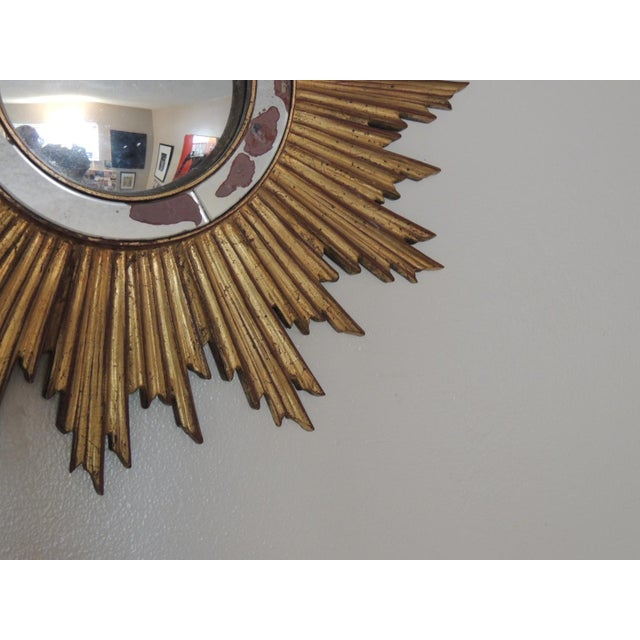 Vintage Gold Sunburst Wood Convex Mirror - Image 4 of 4