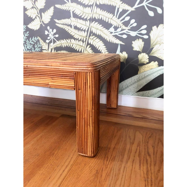 Vintage Split Reed Bamboo Coffee Table For Sale In San Francisco - Image 6 of 11