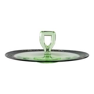 Vintage Uranium Depression Glass Handled Tidbit Serving Tray Sandwich Plate For Sale