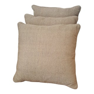 Contemporary Taupe Matching Throw Pillows - Set of 3 For Sale