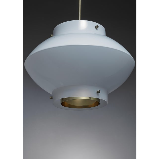 1960s Yki Nummi One of Three White Plexiglass and Brass Pendants for Orno, Finland For Sale - Image 5 of 5