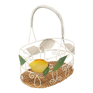 Vintage Wire and Wicker Lemon Basket For Sale