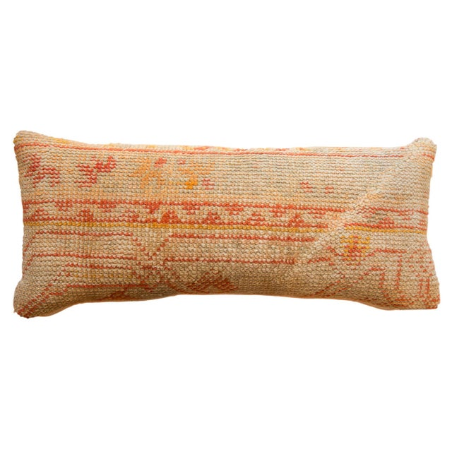 Textile Reclaimed Vintage Turkish Rug Fragment Lumbar Pillow For Sale - Image 7 of 7