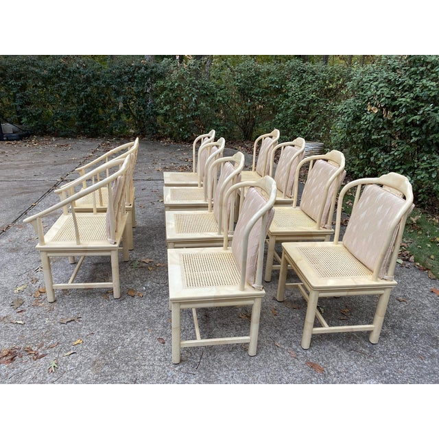 Off-white Vintage Henredon Asian Faux Goatskin Dining Chairs - Set of 10 For Sale - Image 8 of 12