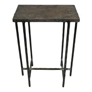 "Grey Smoke Slate Side Table 22"" For Sale"