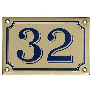 "French ""32"" House Plaque For Sale"