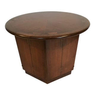 Lane Acclaim Walnut Hexagon Side Table With Inlaid Dovetail by Andre Bus For Sale
