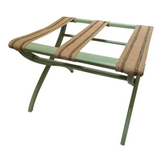 20th Century Cottage Green Painted Luggage Rack For Sale
