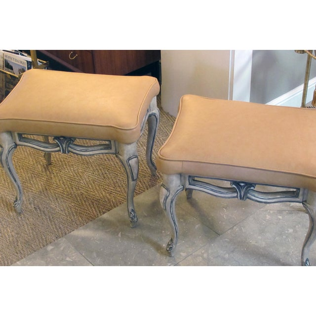 Wood A Gracefully-Shaped Pair of French Rococo Style Gray-Painted Rectangular Stools With Leather Seats For Sale - Image 7 of 8
