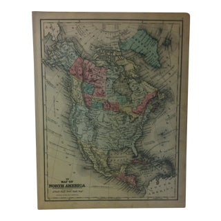 """Antique Mitchell's New School Atlas Map, """"Map of North America"""" by e.h. Butler & Co. Publishers - 1865 For Sale"""