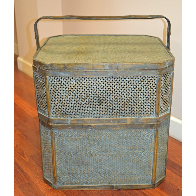 Asian Green Woven Rattan Basket Side Table For Sale - Image 3 of 6