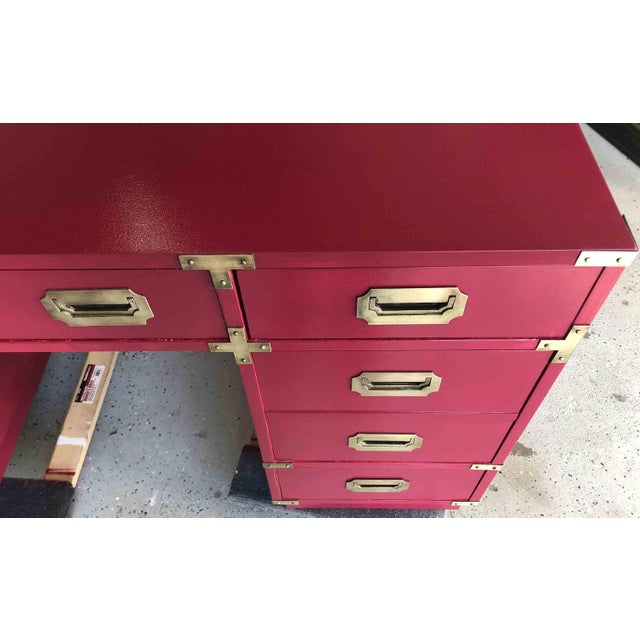 1970s Campaign Partner Desk By Bernhardt For Sale In Chicago - Image 6 of 10