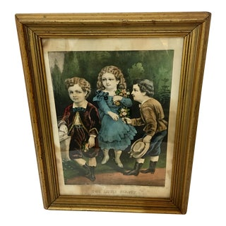 """1872 Victorian Currier & Ives Lithograph, """"The Little Beauty"""" For Sale"""