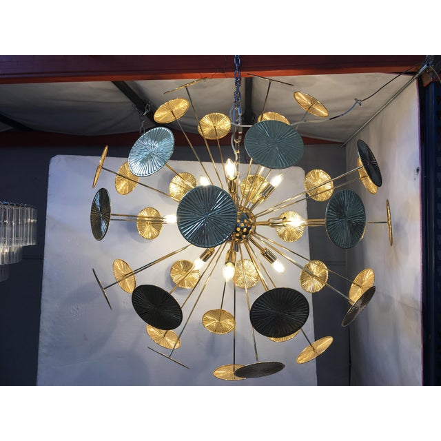 Metal Early 21st Century Gold Metal Frame Sputnik Chandelier For Sale - Image 7 of 11