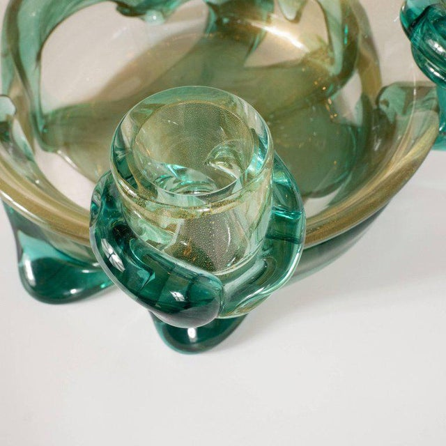 Green Mid-Century Modern Handblown Murano Glass Centerpiece Bowl With Gold Flecks For Sale - Image 8 of 10