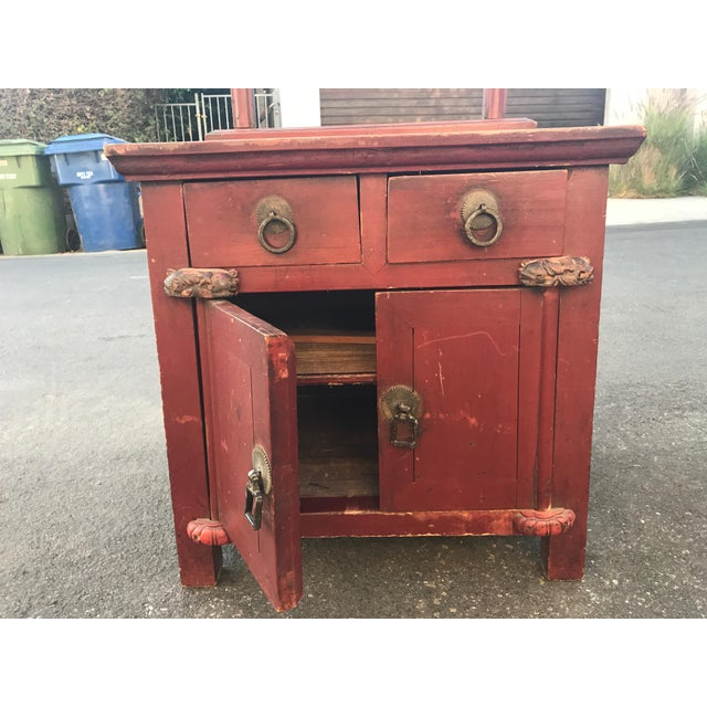 Asian Distressed Red Cabinet - Image 3 of 7