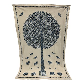 Tree of Life Appliquéd Coverlet For Sale