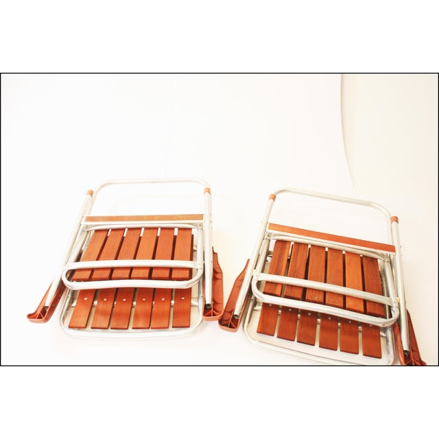 Vintage Redwood & Aluminum Folding Patio Chairs - A Pair For Sale - Image 11 of 11